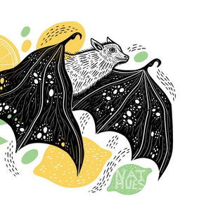 A3 Landscape Fruit Bat Print by Nat Hues