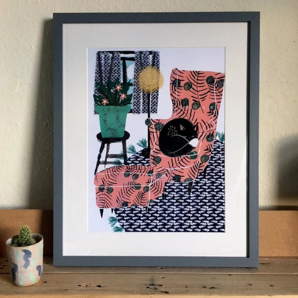 wall art print of a black cat