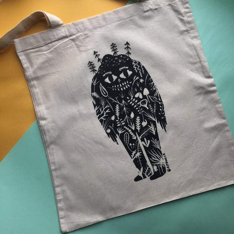 Tree man illustration tote bag