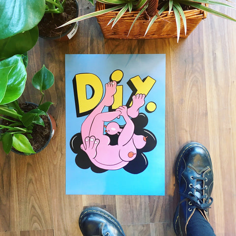 Blue and Pink DI.Y Print by Bearcubs
