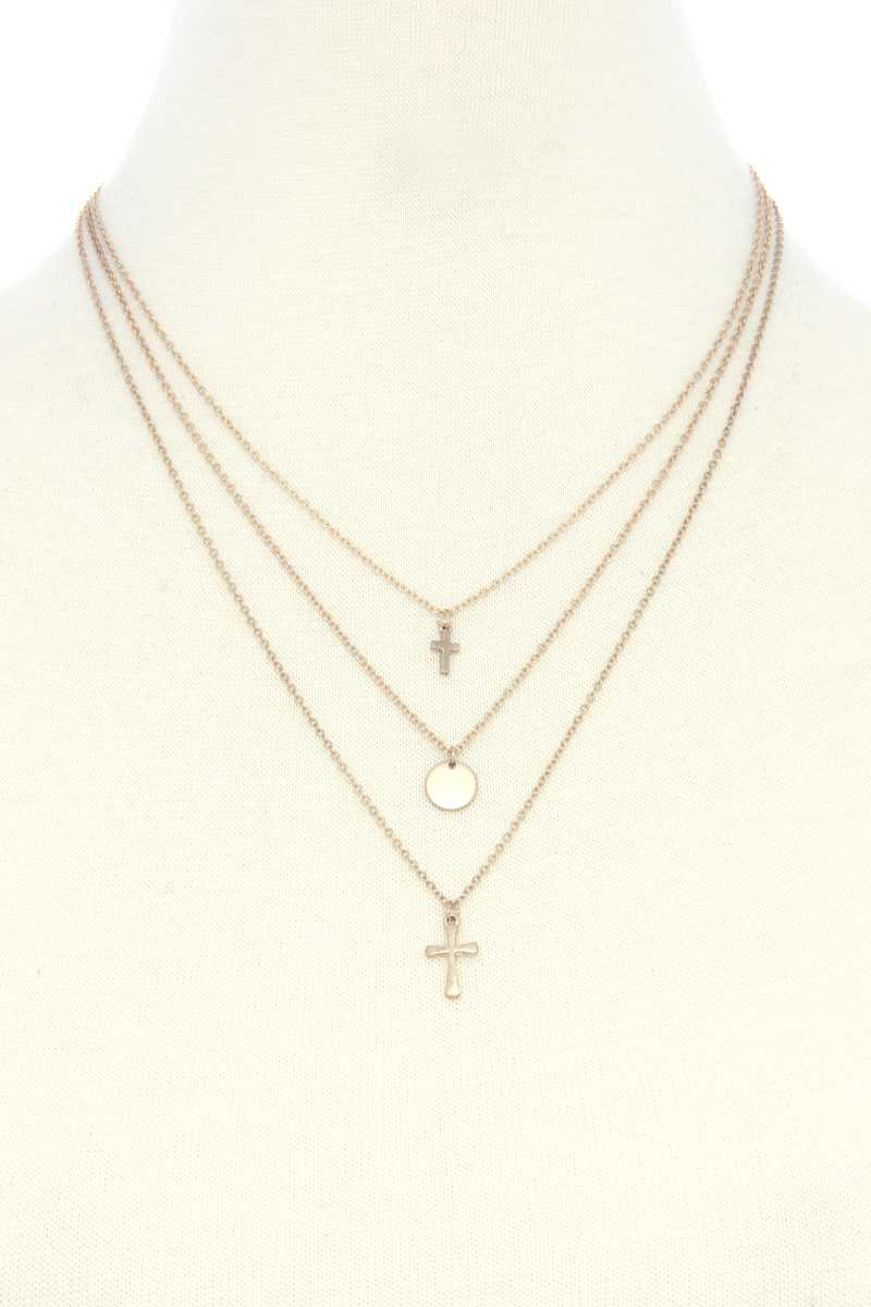 Dainty Cross Charm Layered Necklace