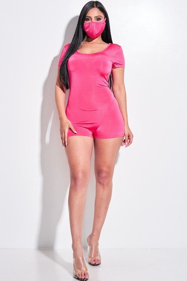 Solid Short Sleeve Scoop Neck Romper And Face Mask 2 Piece Set