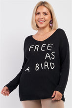 "Load image into Gallery viewer, Plus ""free As A Bird"" Logo Knit Sweater"
