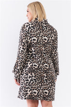 Load image into Gallery viewer, Plus Size Leopard Print Ribbed Cowl Neck Balloon Sleeve Mini Dress