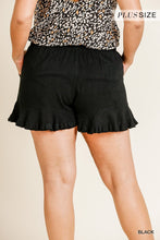 Load image into Gallery viewer, Linen Blend Elastic Waist Ruffle Hem Shorts With Pockets