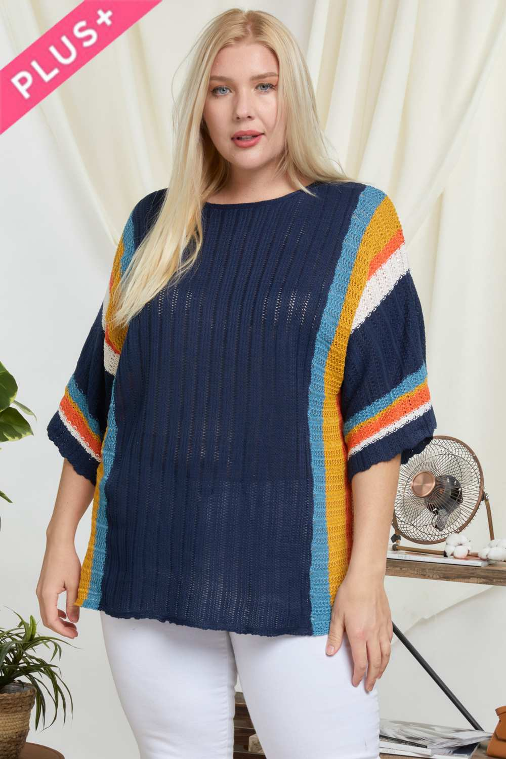 Stripe Accent Ribbeb Knit Sweater