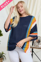 Load image into Gallery viewer, Stripe Accent Ribbeb Knit Sweater