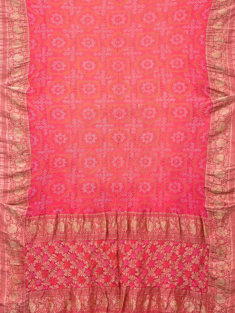 Baby Pink Bandhani Banaras Silk Handloom Saree with All Over and Border Design bn0023