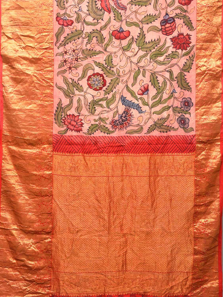 Baby Pink Kalamkari Hand Painted Kanchipuram Silk Handloom Saree with Floral Design KL0396