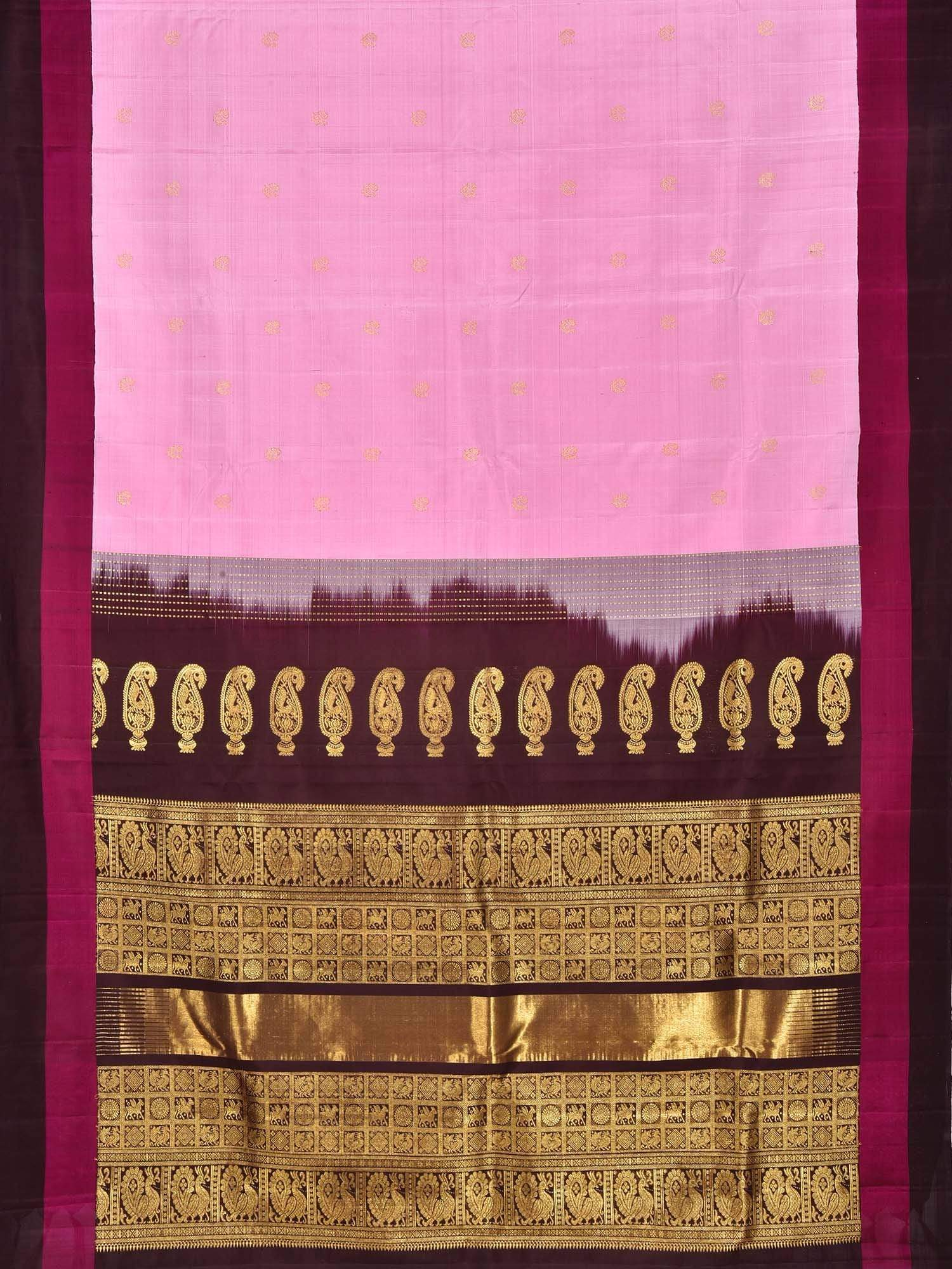 Baby Pink Kanchipuram Silk Handloom Saree with Buta and Mango Pallu Design K0464