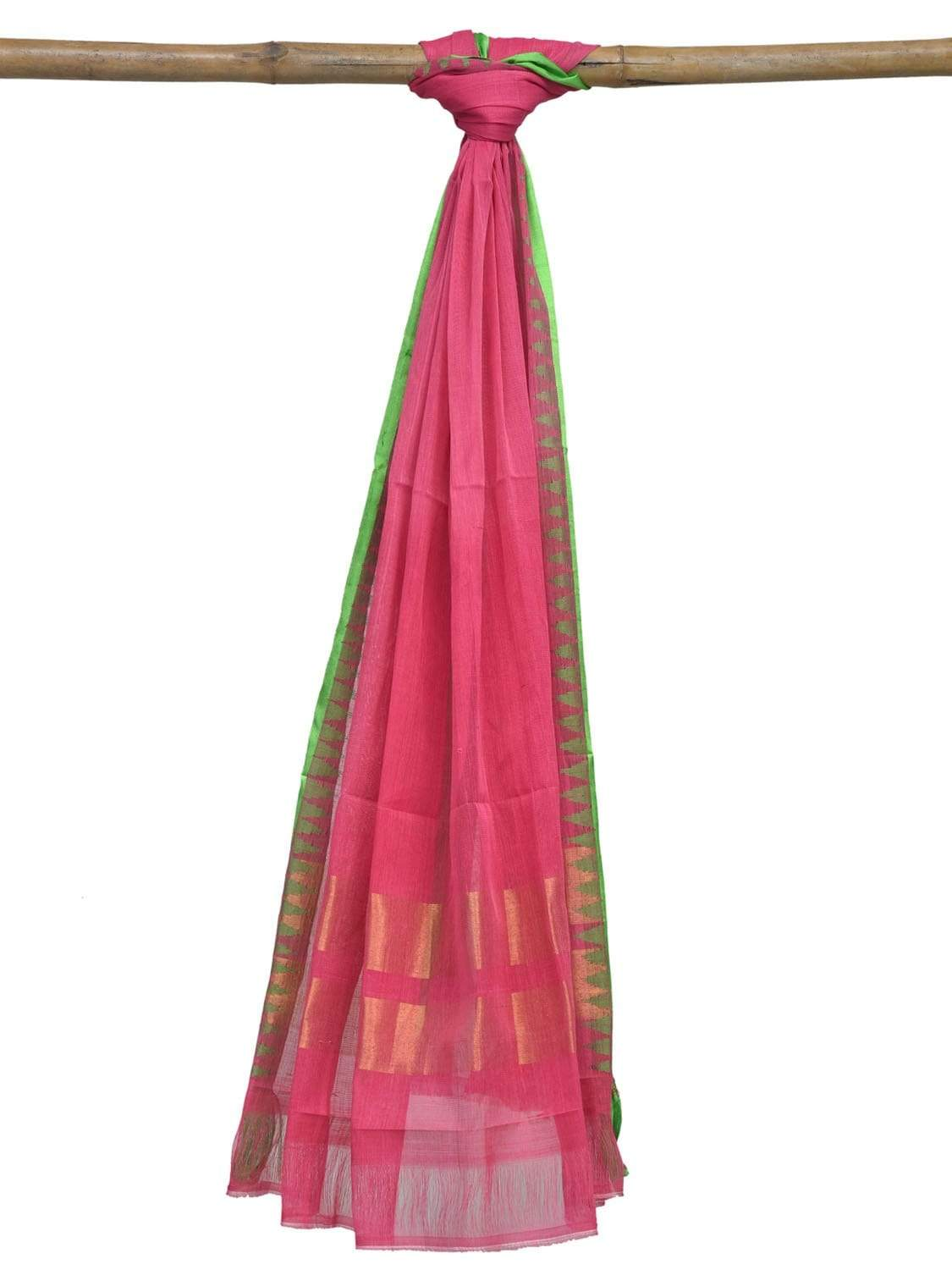 Baby Pink Khadi Cotton Handloom Dupatta with Silk Border Design ds1885