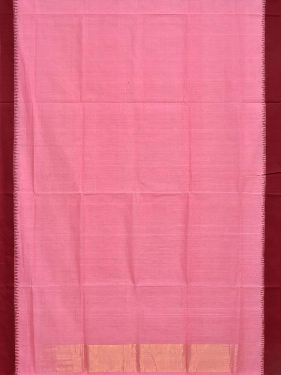 Baby Pink Khadi Cotton Handloom Plain Saree with Silk Border kh0443