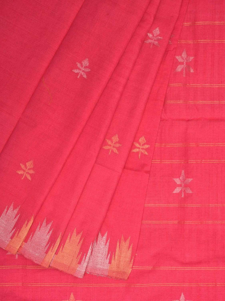 Baby Pink Khadi Cotton Handloom Saree with Jamdani Buta and Temple Border Design kh0493