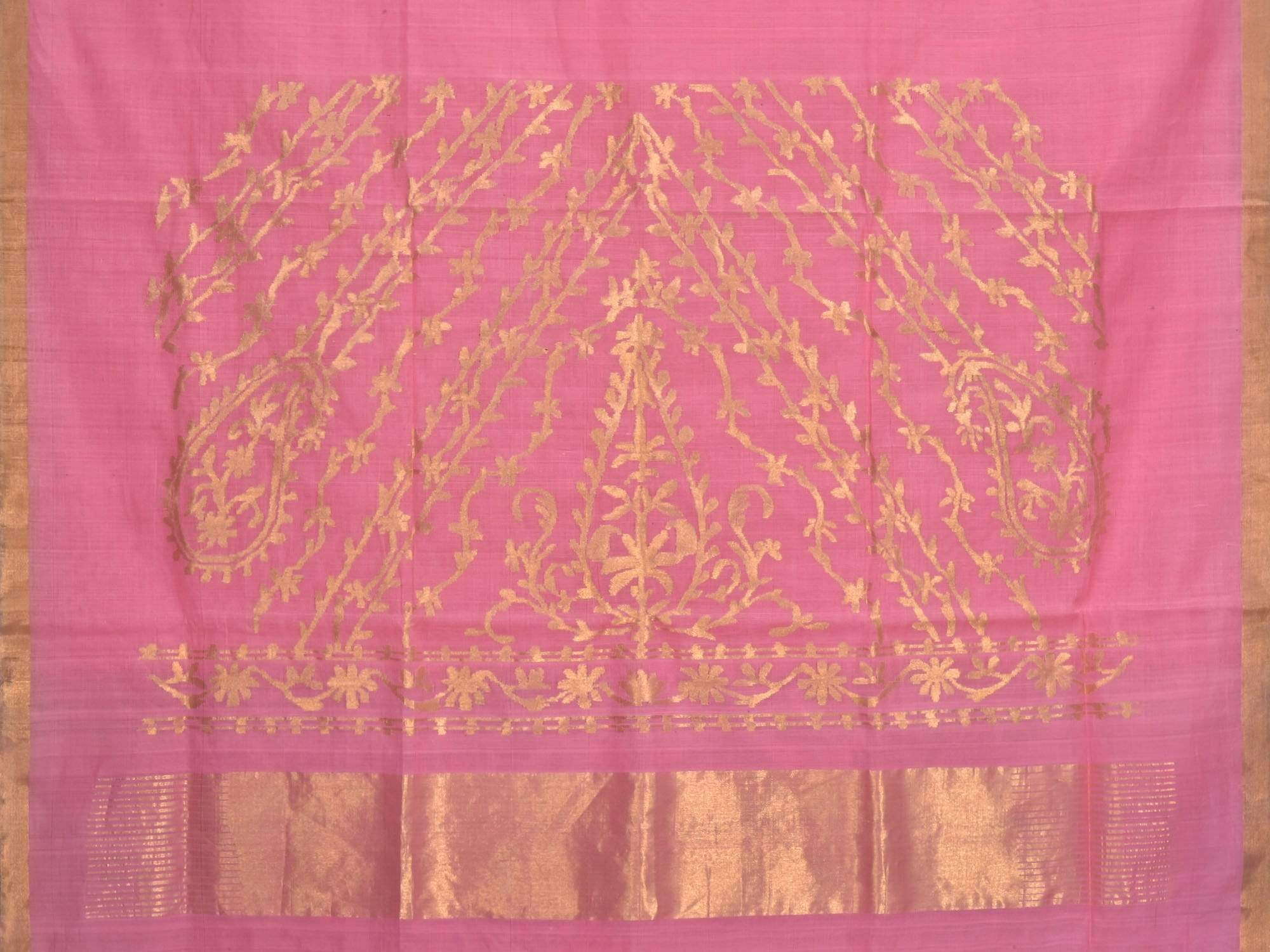 Baby Pink Khadi Cotton Handloom Saree with Pallu Design kh0420