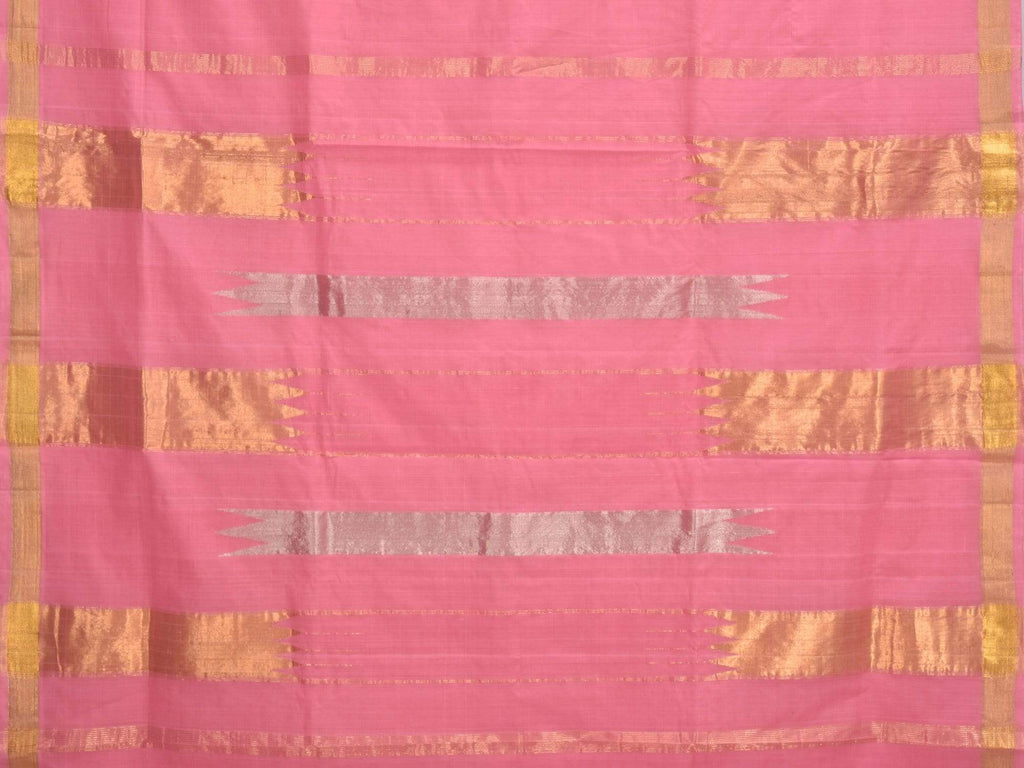 Baby Pink Khadi Cotton Handloom Saree with Zari Strips Pallu Design kh0423