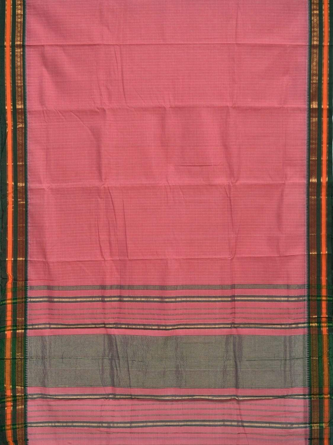 Baby Pink Narayanpet Cotton Handloom Saree with Checks and Border Design No Blouse np0245