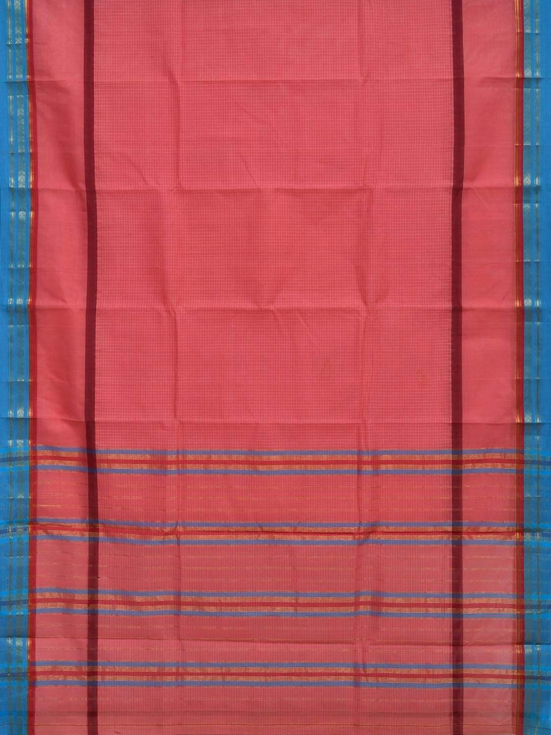 Baby Pink Narayanpet Cotton Handloom Saree with Checks and One Side Big Border Design No Blouse np0256