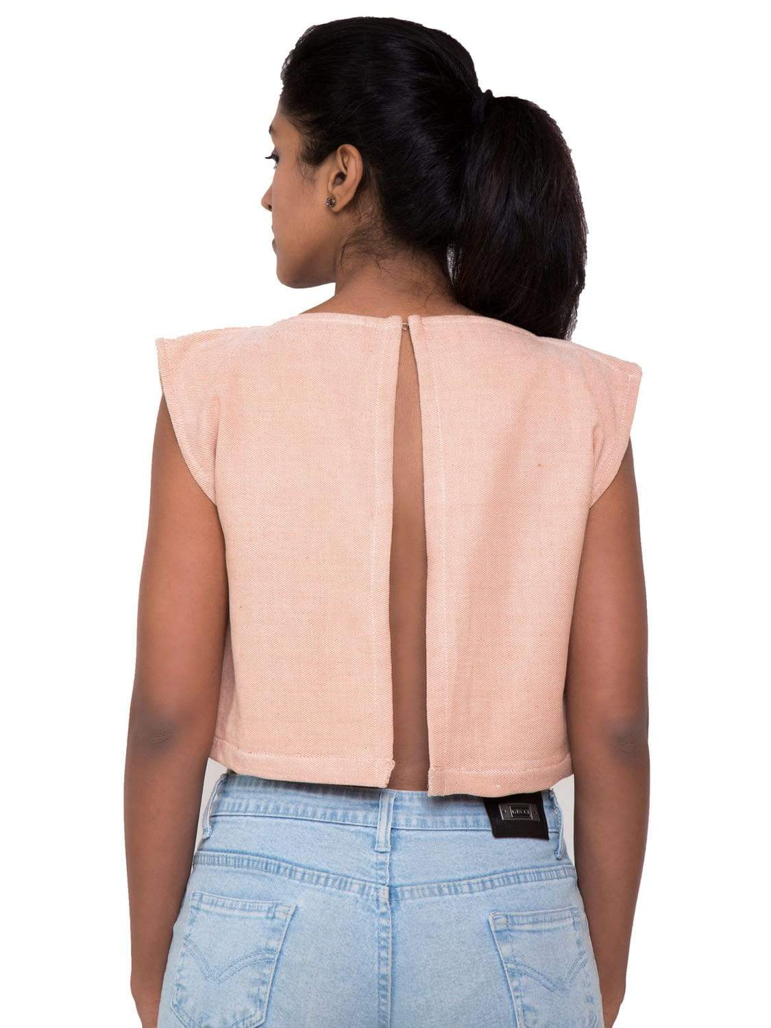 Baby Pink PikaLove Organic Cotton Slit crop Top UNC-MB-SCT-005