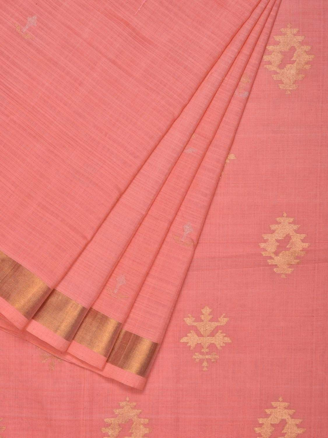 Baby Pink Uppada Cotton Handloom Saree with Assorted Buta Pallu Design u1543