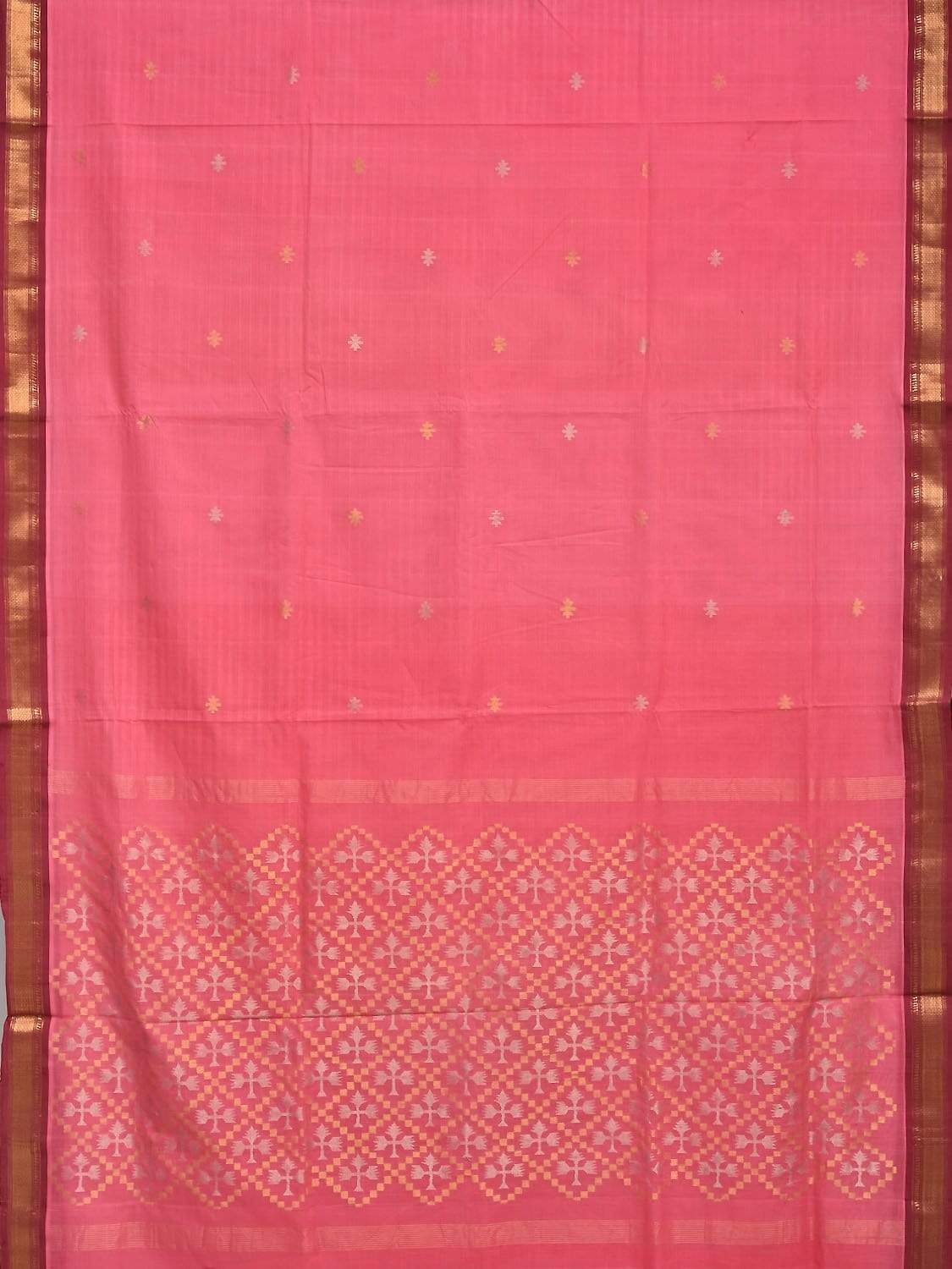 Baby Pink Uppada Cotton Handloom Saree with Jamdani Pallu and Traditional Border Design No Blouse u1578