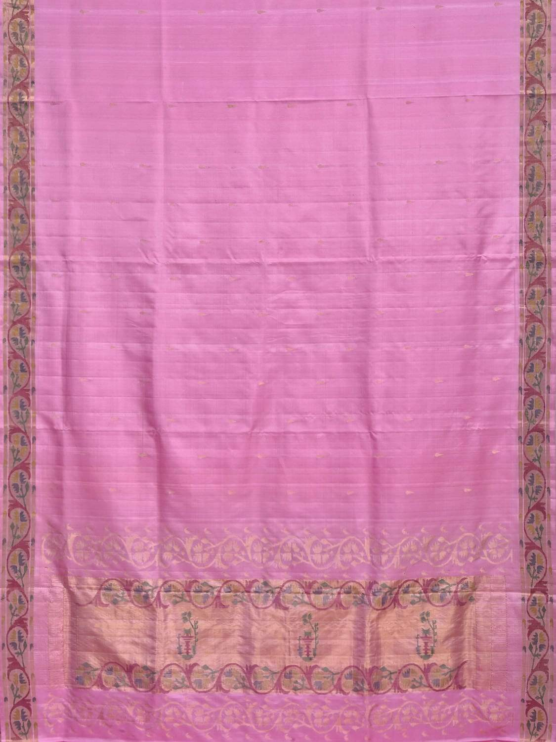 Baby Pink Uppada Silk Handloom Saree with Aakruti Border and Pallu Design u1551