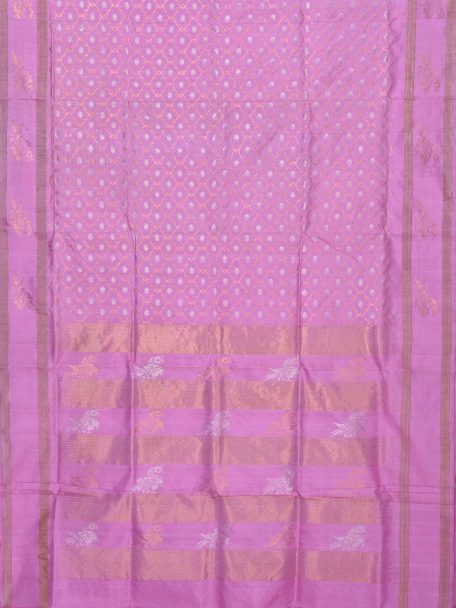 Baby Pink Uppada Silk Handloom Saree with All Over and Birds Pallu Design U1399