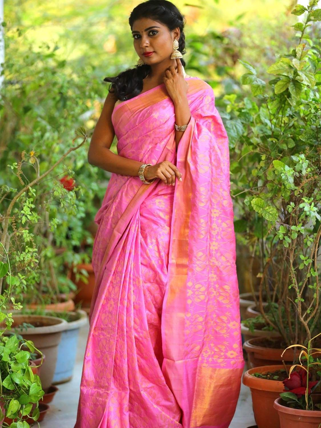 Baby Pink Uppada Silk Handloom Saree with All Over Bangdi More Design u1566
