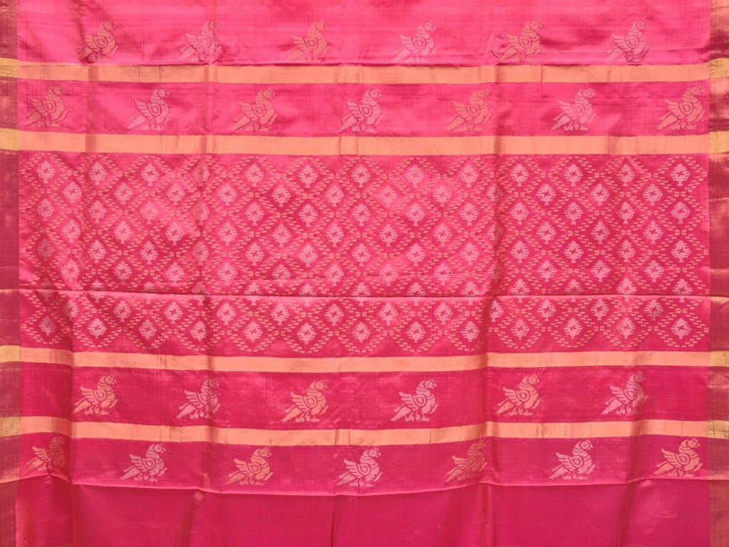 Baby Pink Uppada Silk Handloom Saree with Birds and Jamdani Pallu Design u1689