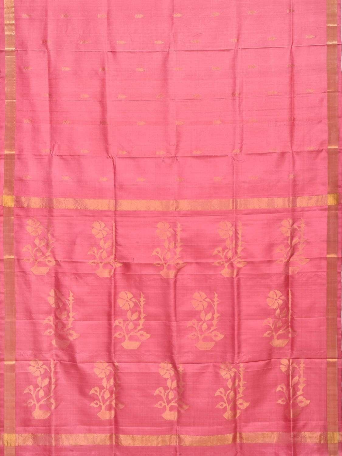 Baby Pink Uppada Silk Handloom Saree with Flower Pot Pallu Design u1583