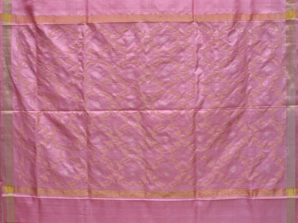 Baby Pink Uppada Silk Handloom Saree with Grill Pallu Design u1710