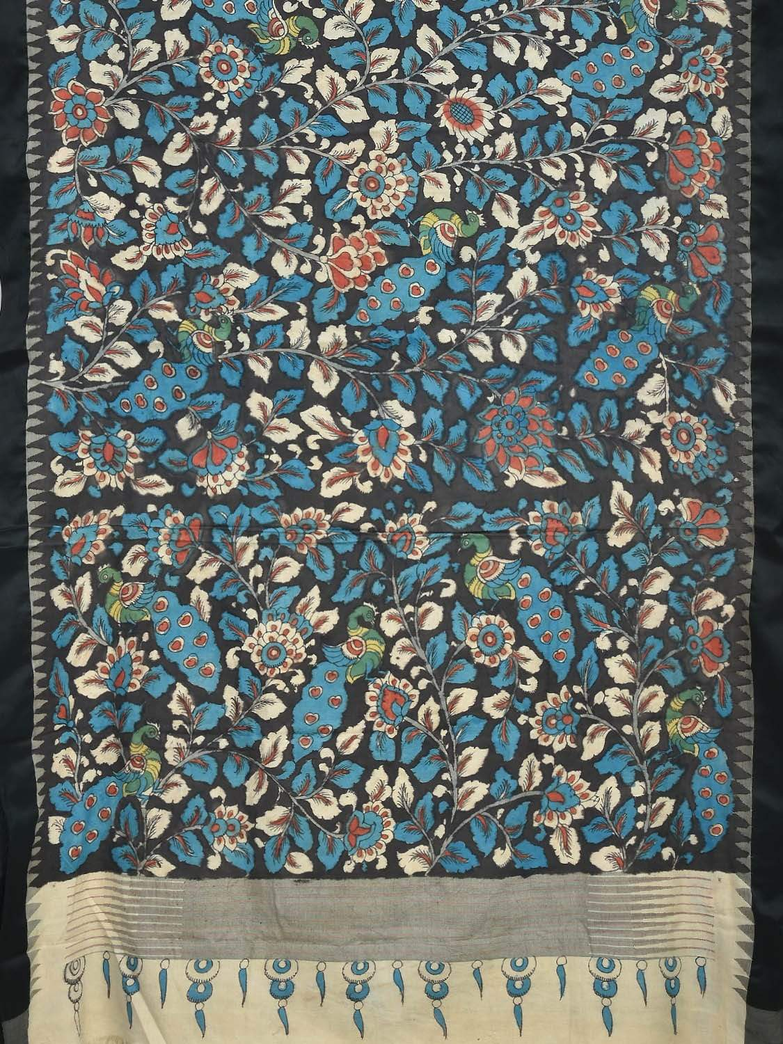 Black and Blue Kalamkari Hand Painted Kanchipuram Silk Handloom Saree with Flowers and Peacocks Design KL0188