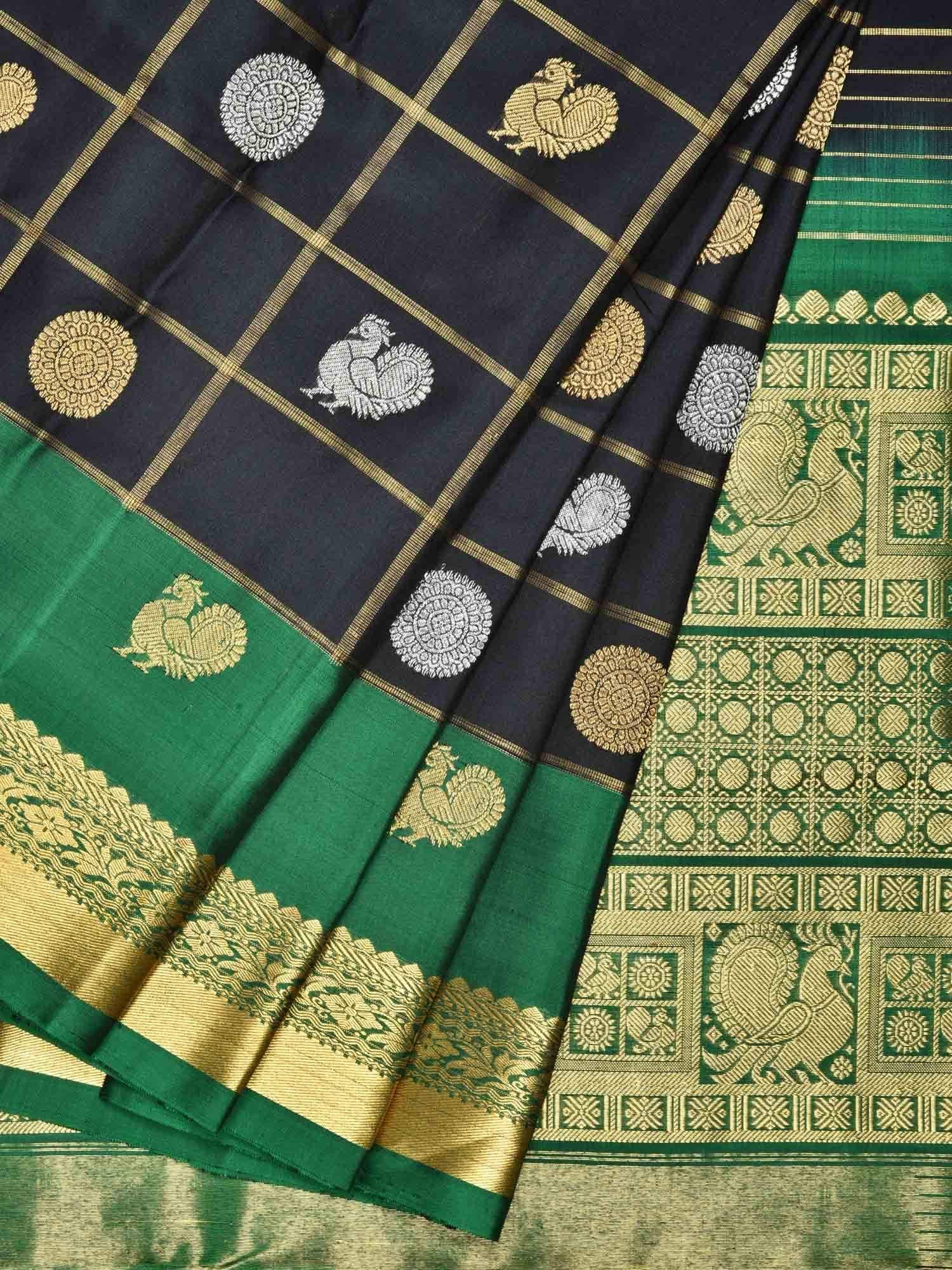Black and Green Kanchipuram Silk Handloom Saree with Checks and Buta Design K0463