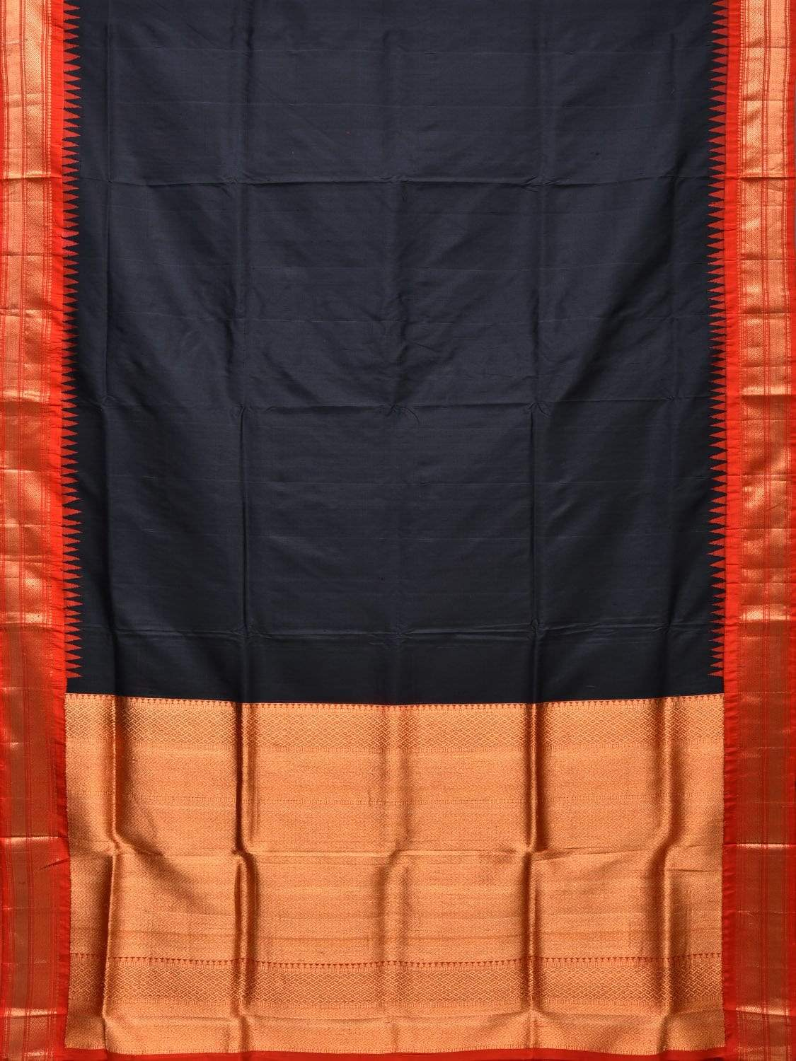 Black and Red Gadwal Silk Handloom Plain Saree with Temple Border Design g0255