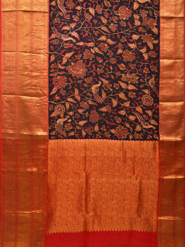 Black and Red Kalamkari Hand Painted Kanchipuram Silk Handloom Saree with Flowers and Peacocks Design KL0351