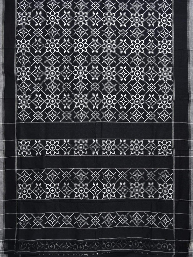 Black and White Pochampally Double Ikat Cotton Handloom Saree with Grill Design i0567