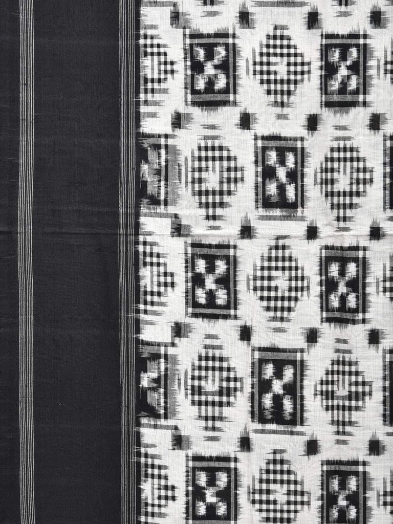 Black and White Pochampally Double Ikat Cotton Handloom Saree with Telia Design i0568