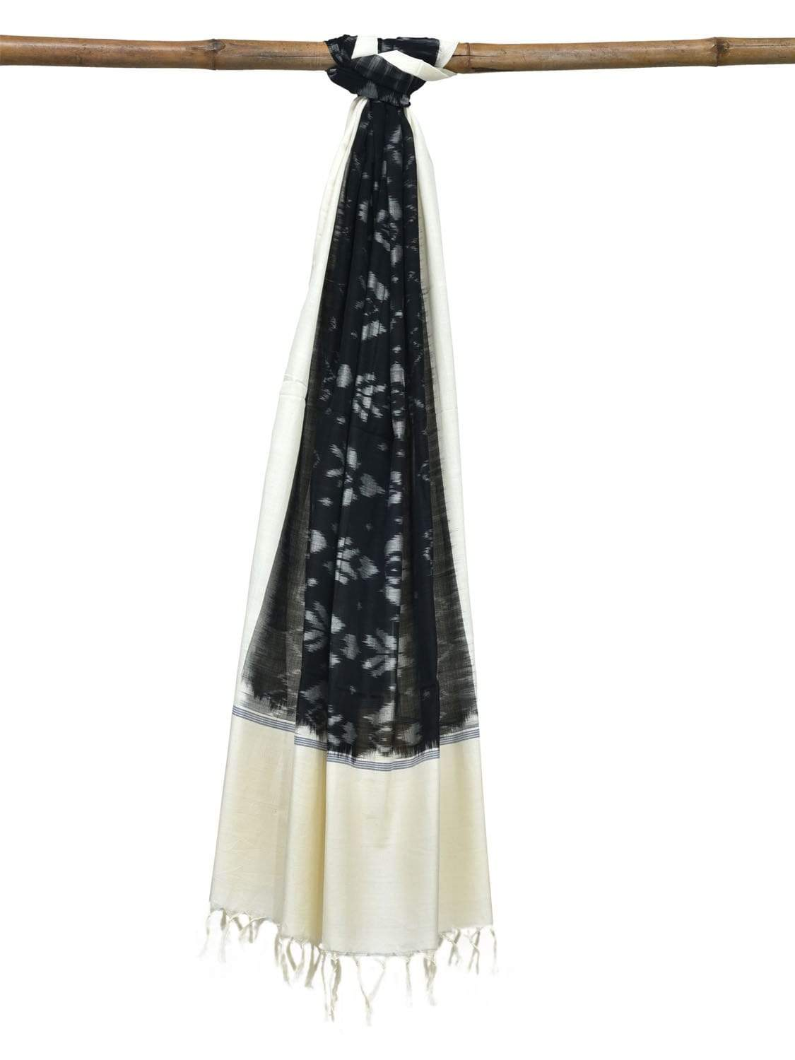 Black and White Pochampally Ikat Cotton Handloom Dupatta with Body Design ds1845
