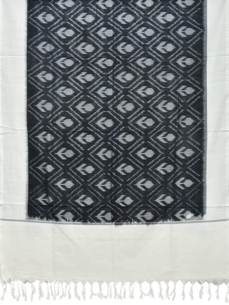 Black and White Pochampally Ikat Cotton Handloom Dupatta with Body Design ds1847