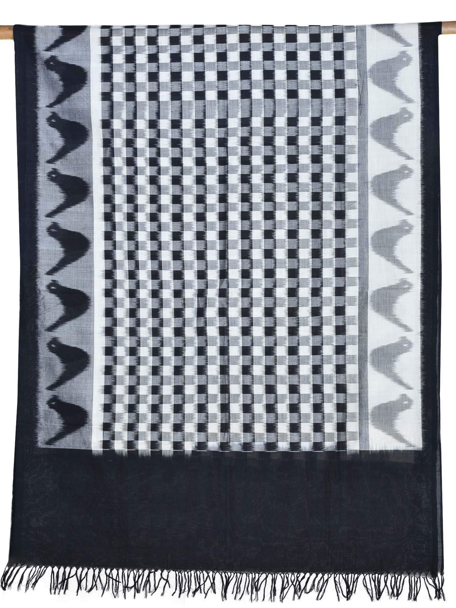 Black and White Pochampally Ikat Cotton Handloom Dupatta with Checks Design ds1697