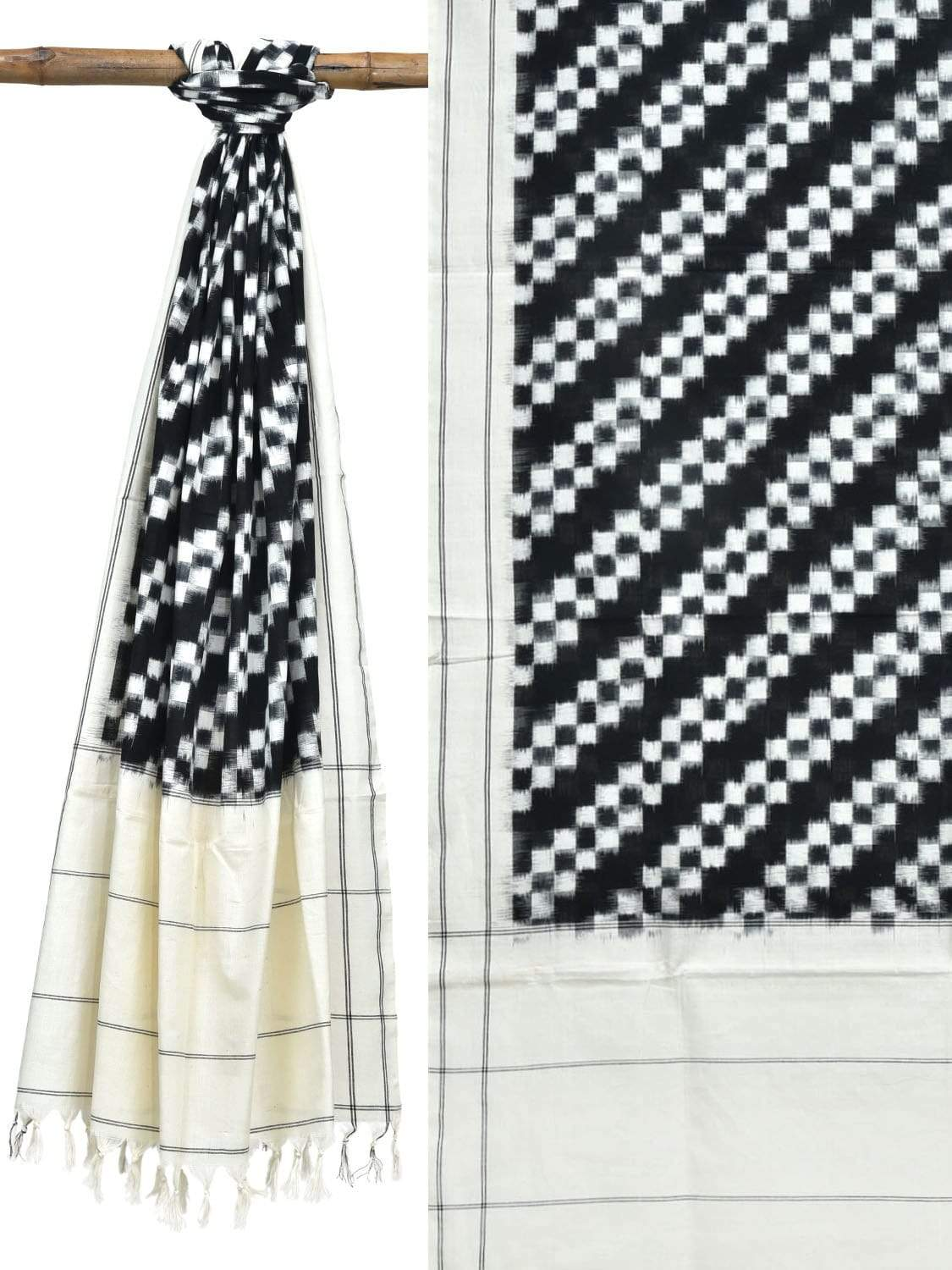 Black and White Pochampally Ikat Cotton Handloom Dupatta with Diagonal Design ds1844