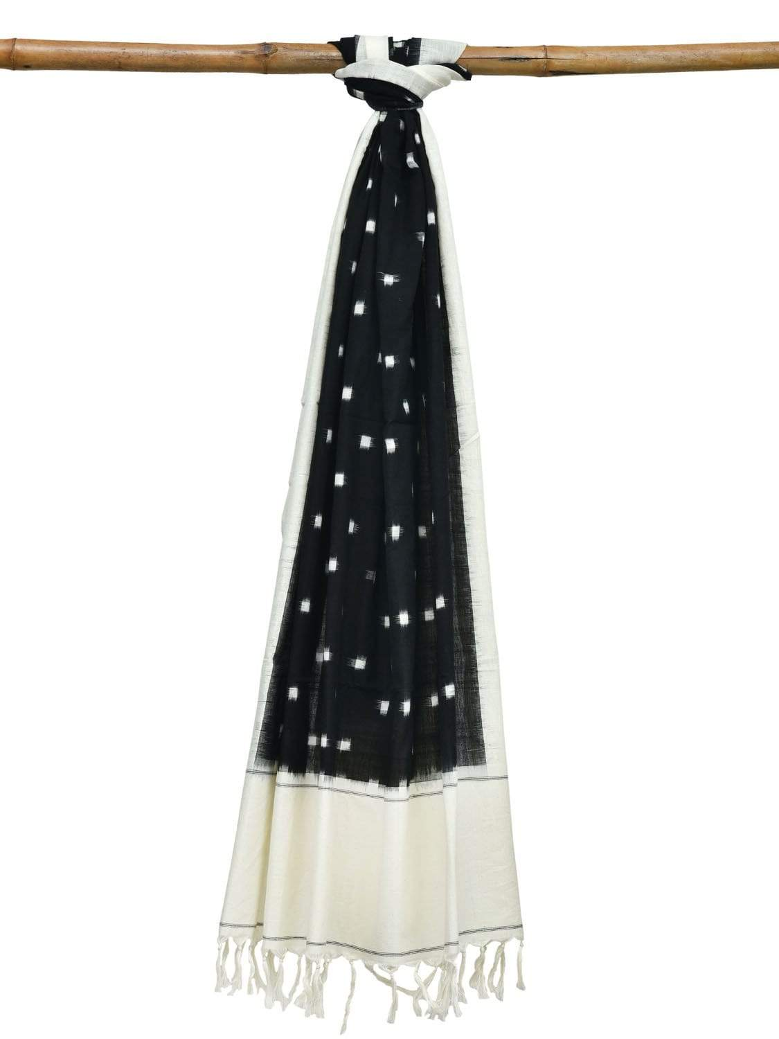 Black and White Pochampally Ikat Cotton Handloom Dupatta with Dots Design ds1896