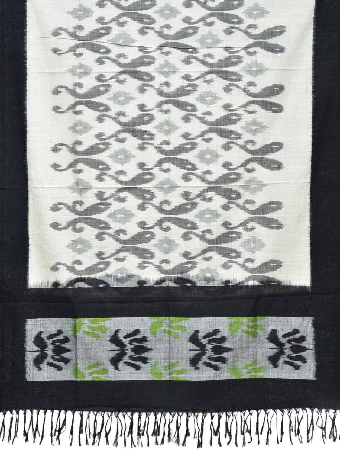 Black and White Pochampally Ikat Cotton Handloom Dupatta with Lotus Flower Design ds1816