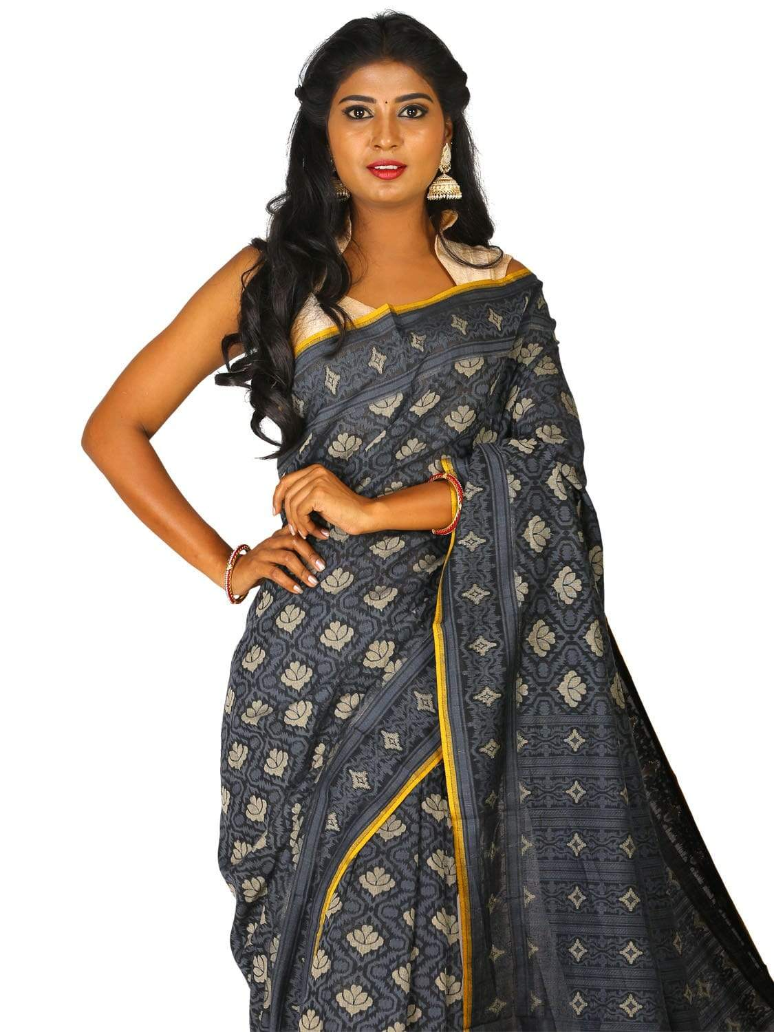 Black Cut Work Cotton Handloom Saree with All Over Design o0268