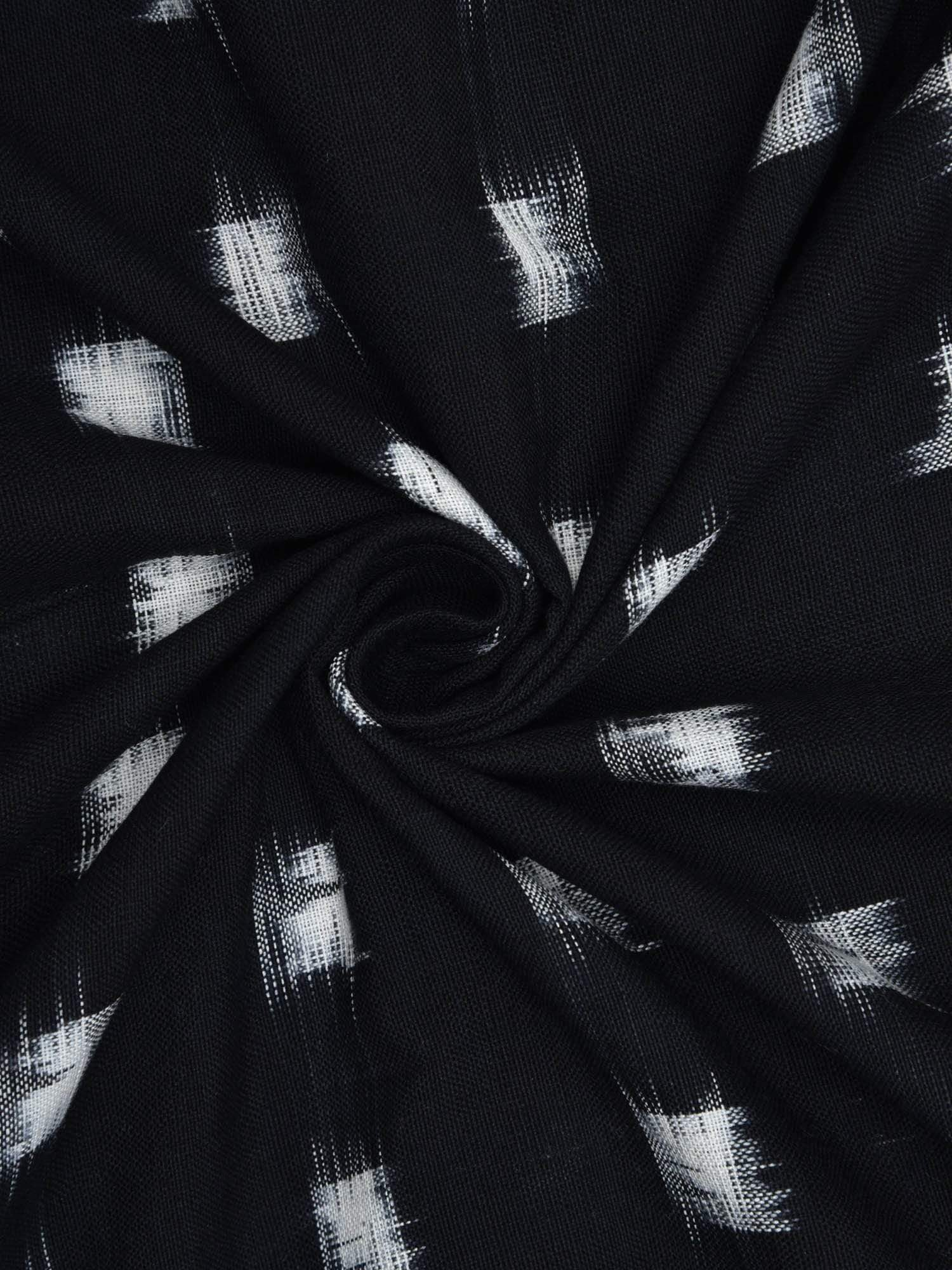Black Ikat Cotton Handloom Fabric With Square Buta Design F0112