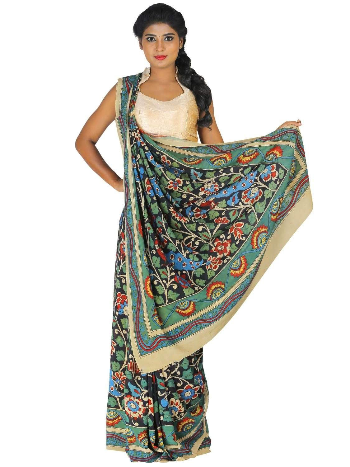 Black Kalamkari Hand Painted Crepe Saree with All Over Floral and Peacock Design kl0137