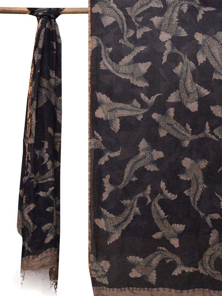 Black Kalamkari Hand Painted Silk Handloom Dupatta with Fishes Design ds2114