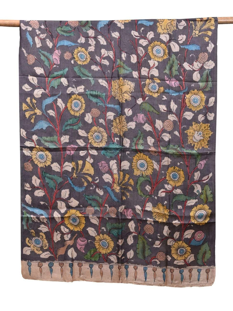 Black Kalamkari Hand Painted Tussar Handloom Dupatta with Floral Design ds2138