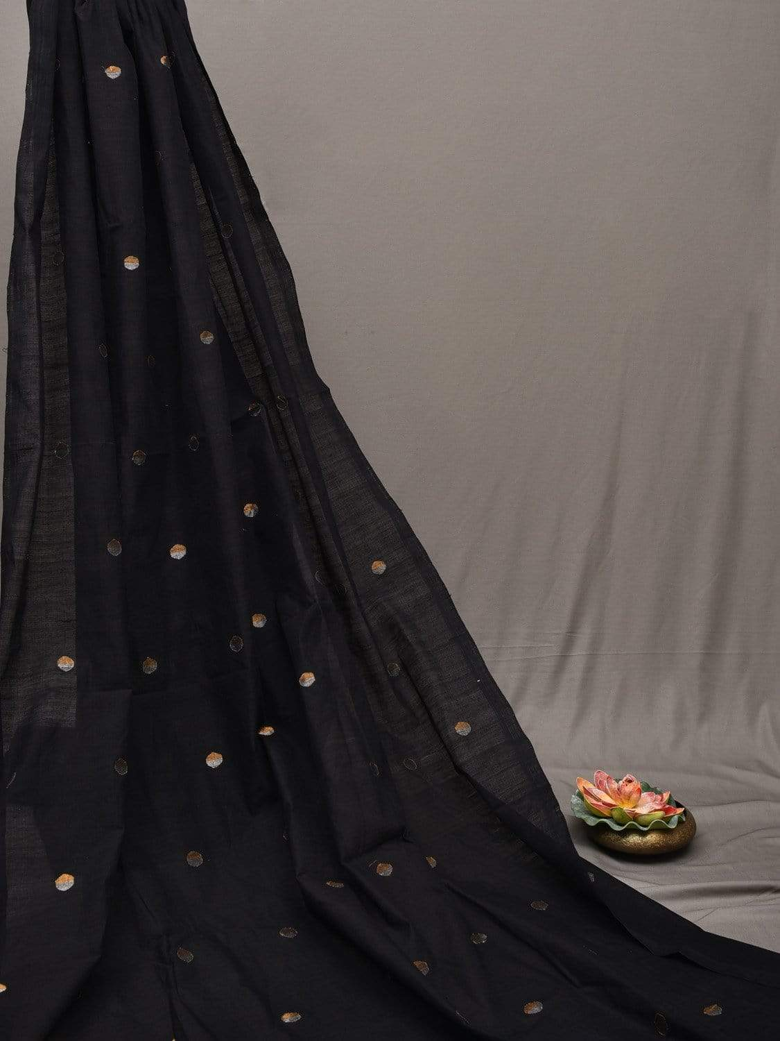 Black Khadi Cotton Handloom Fabric with Jamdani Round Gold-Silver Zari Buta Design f0166