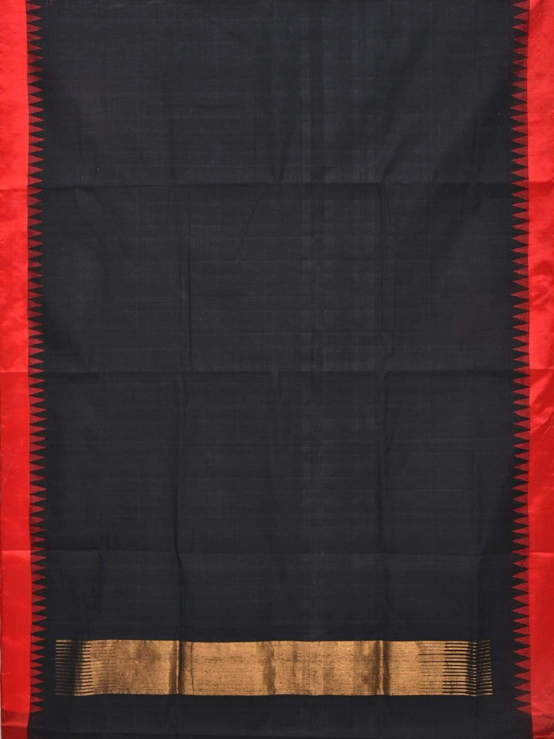Black Khadi Cotton Handloom Plain Saree with Silk Temple Border Design kh0439
