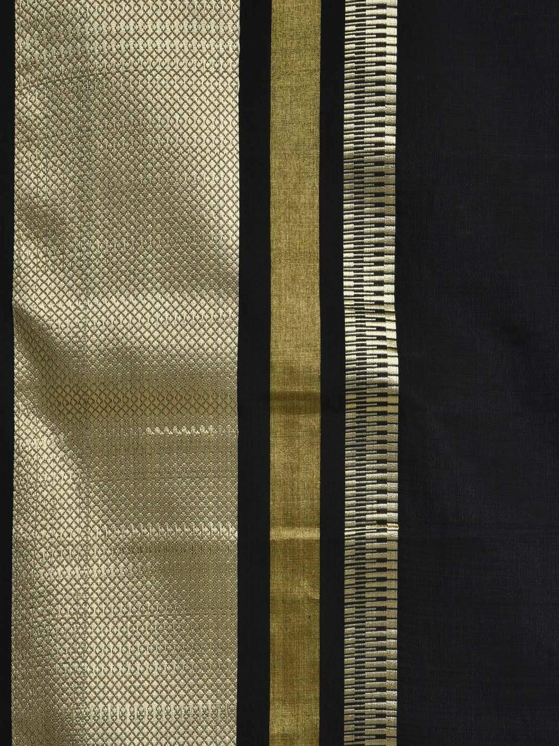 Black Maheshwari Cotton Silk Handloom Plain Saree with Border Design m0110